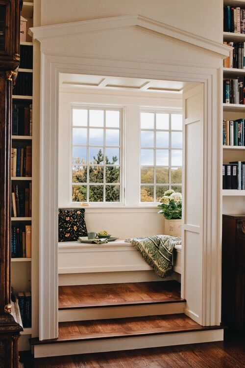 nooks | window seats | reading | libraries | home | decor | French windows | natural light | wood floors | simplicity