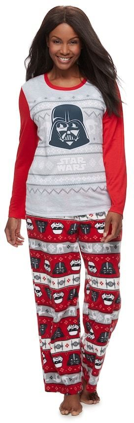Jammies For Your Families Plus Size Women's Plus Jammies For Your Families Star Wars Darth Vader & Stormtrooper Fairisle Top & Microfleece Bottoms Pajama Set