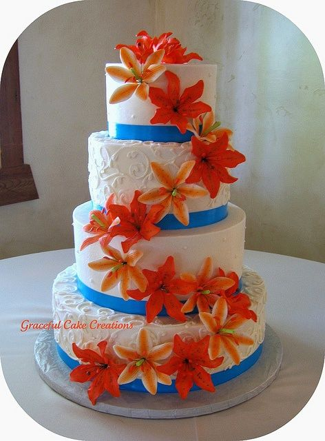 orange flowers but instead of blue ribbon bottoms maybe camo?