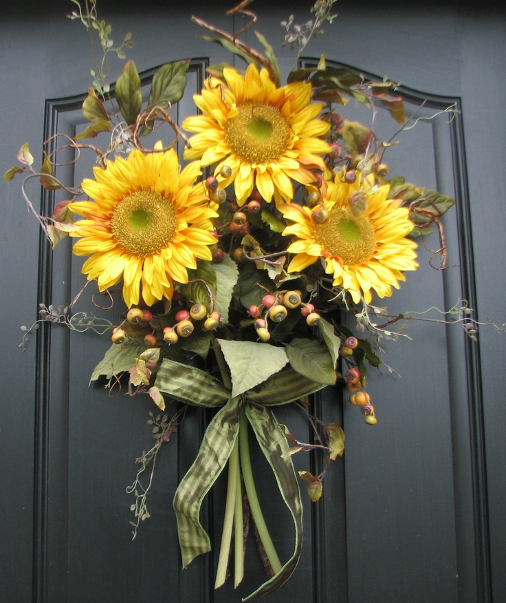 Reserved for admbasf - Sunflower Bouquet - Front Door Decor - Summer Wreath. $75.00, via Etsy.