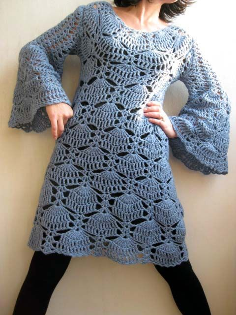 Dress with long Bell sleeves (stitch pattern chart is included)