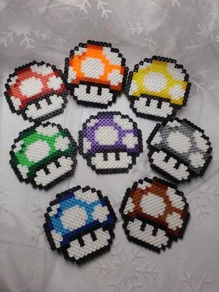 Untersetzer - 8 Untersetzer Bügelperlen Mario, Pilz, bunt - ein Designerstück von Astrid-Zauberstuebchen bei DaWanda
