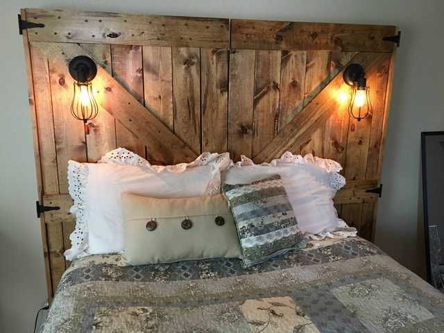 Barn Door Headboard With Lights And Outlets Headboard With