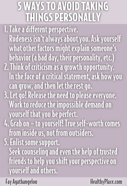 """Taking things personally is a sign of low self-esteem. Find out tips on how to stop taking things personally ."" www.HealthyPlace.com"