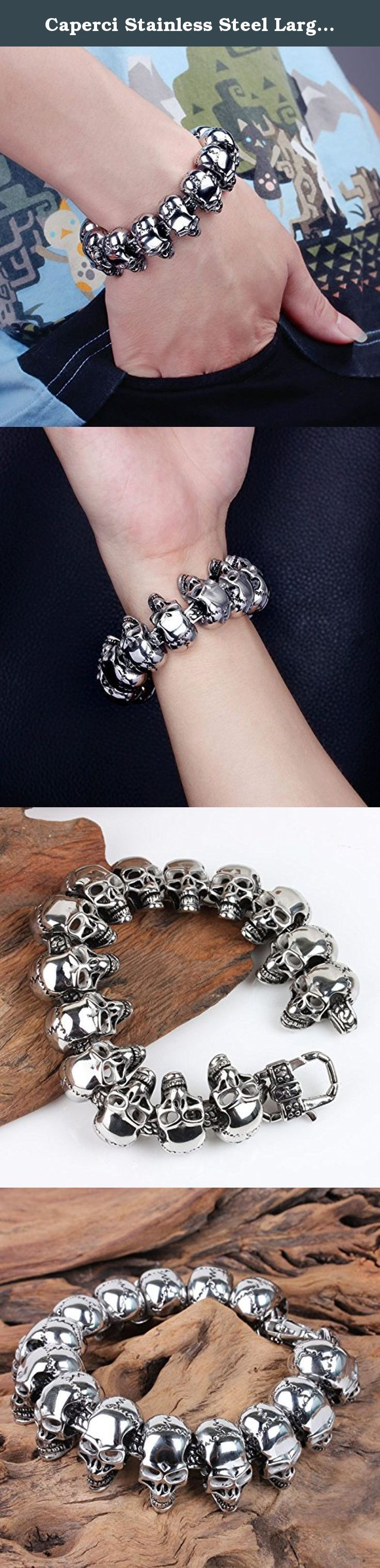 "Caperci Stainless Steel Large Gothic Biker Skull Men's Bracelet 8.5 Inch, Lobster Claw Clasp. About Caperci Caperci is offering the ""Exquisite, Fashion, Low Price, Happiness"" concept of branded, high quality jewelry at affordable price with cost-effective materials, such as tungsten, cobalt, sterling silver, stainless steel, titanium, cubic zirconia, crystal, genuine leather. During the last two decades, we've been OEM for major jewelry brands over the world. We thought we are not good..."