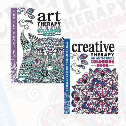 wholesale booksthe creative therapy colouring book and the art therapy colouring book 2 books set - Wholesale Coloring Books 2