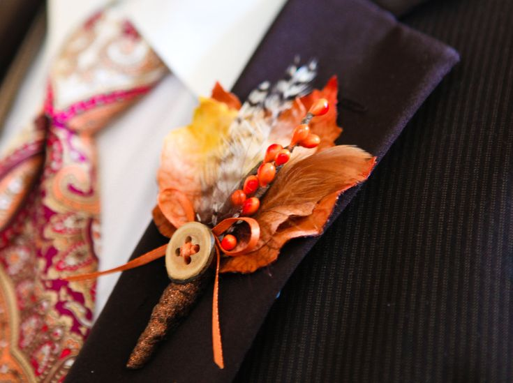 Unique non flower wedding boutonniere   Engaged and Puzzled