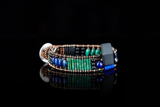 Bracelet with Agate, Lapis, Malachite, Murano glass, Onyx, Spinel and signature silver fastening (#1461).