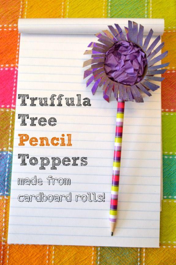 Cardboard Roll Craft: Truffula Tree Pencil Toppers #drsuess