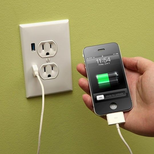 I had no idea!! – Upgrade a Wall Outlet to USB Functionality – You can get one at Lowes or Home Depot for $15.