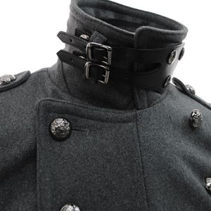 (FC03-GRAY) Slim Fit Double Breasted Leather Neck Belt 12 Button Wool Coat