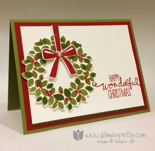 Wondrous Wreath stamp set - designed by Mary Fish, Independent Stampin' Up! Demonstrator. Details, supply list and more card ideas on http://stampinpretty.com/2014/09/quick-crisp-and-holiday-inspired-todays-card-combines-the-layered-images-of-wonderful-wreath-photopolymer-stamp-set-and-t.html