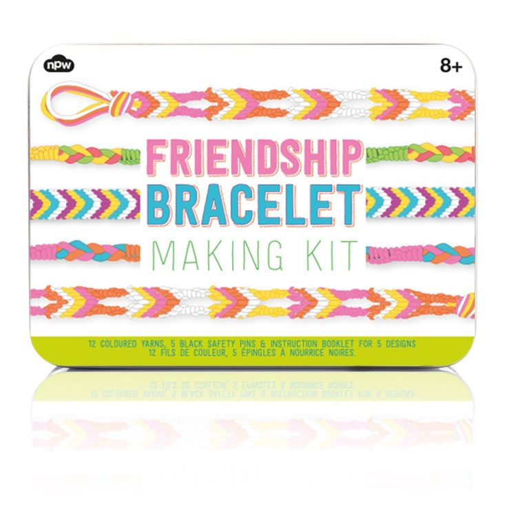 Girls age 8 can create special freindships with this NPW Friendship Bracelet Making Kit. A fab gift idea for creative girls.