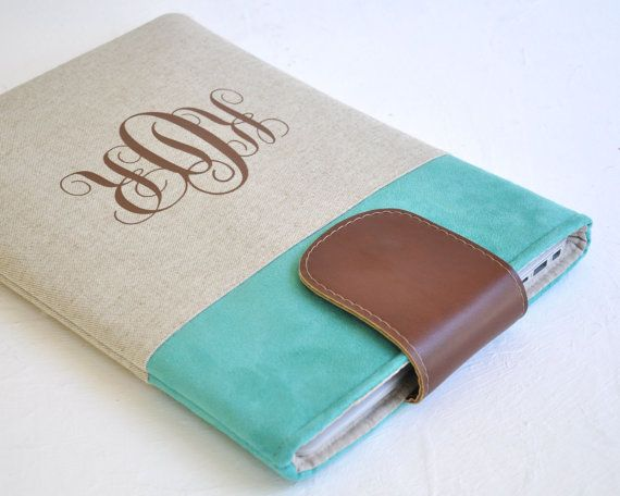 Laptop Case MacBook Cover Monogrammed Laptop by LittlePigeonCrafts, $60.00
