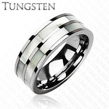 Sincerity - Simple Design Combination Of Mother Of Pearl and Tungsten Carbide Comfort-Fit Band. #BuyBlueSteel #MensWeddingRings