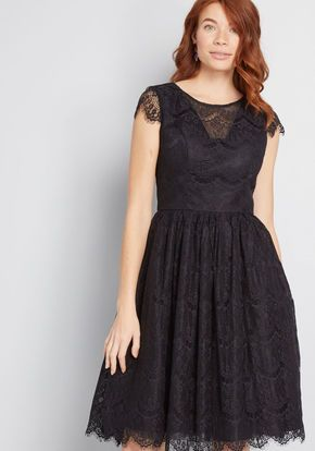 Chi Chi London Endless Luxe Fit And Flare Dress In Black Lace Walk