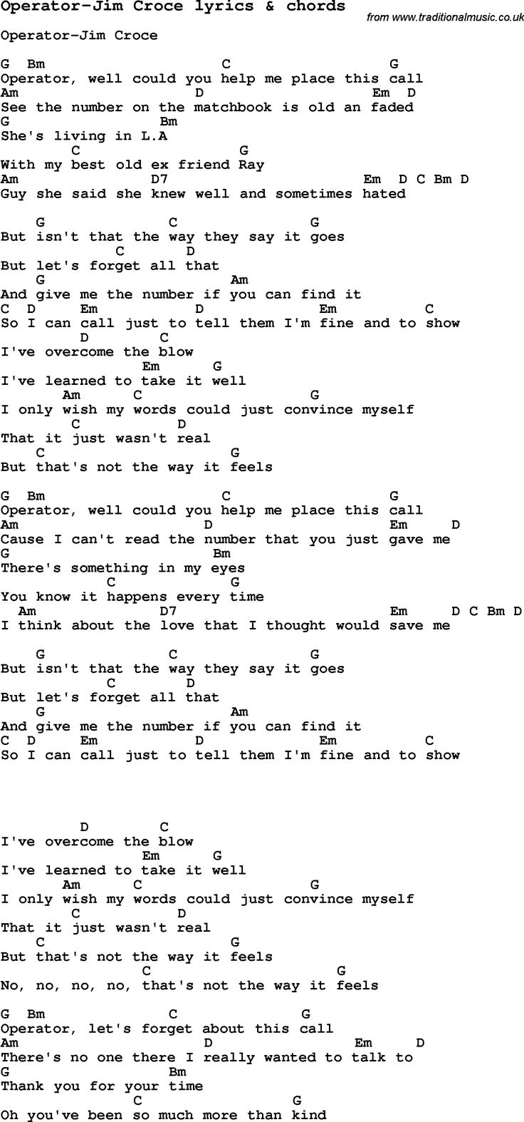106 best song lyrics images on pinterest music classical love song lyrics for operator jim croce with chords for ukulele guitar banjo hexwebz Images