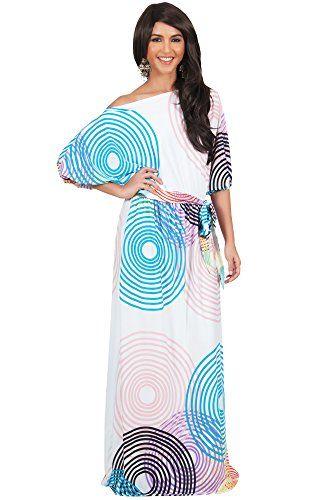 Koh Koh Women's One Shoulder Circle Print Elegant Evening Cocktail Maxi Dress - X-Large - Off-White