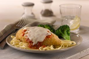 What You Need 6 small  boneless skinless chicken breasts (1-1/2 lb.) 1 pkt.  SHAKE 'N BAKE Chicken Coating Mix 2 cups  spaghetti sauce 1-1/2...