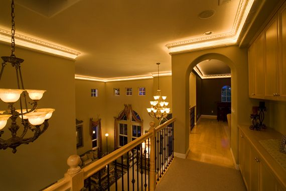The Light Fantastic:  Lighted crown mouldings add a soft, ambient glow and are sure-fire conversation starters. The two-piece system has lights in the lower moulding that project upward, illuminating the upper piece. Cost for a 12-by-12-foot room is about $800, installed.