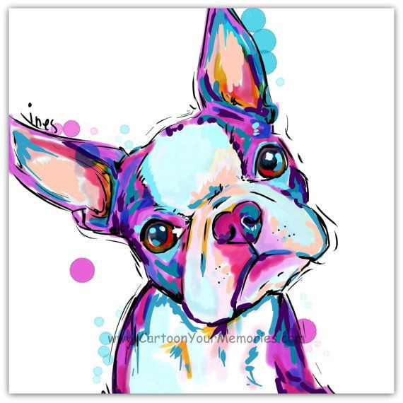 My litte Boston Terrier  art print by cartoonyourmemories on Etsy, $10.00