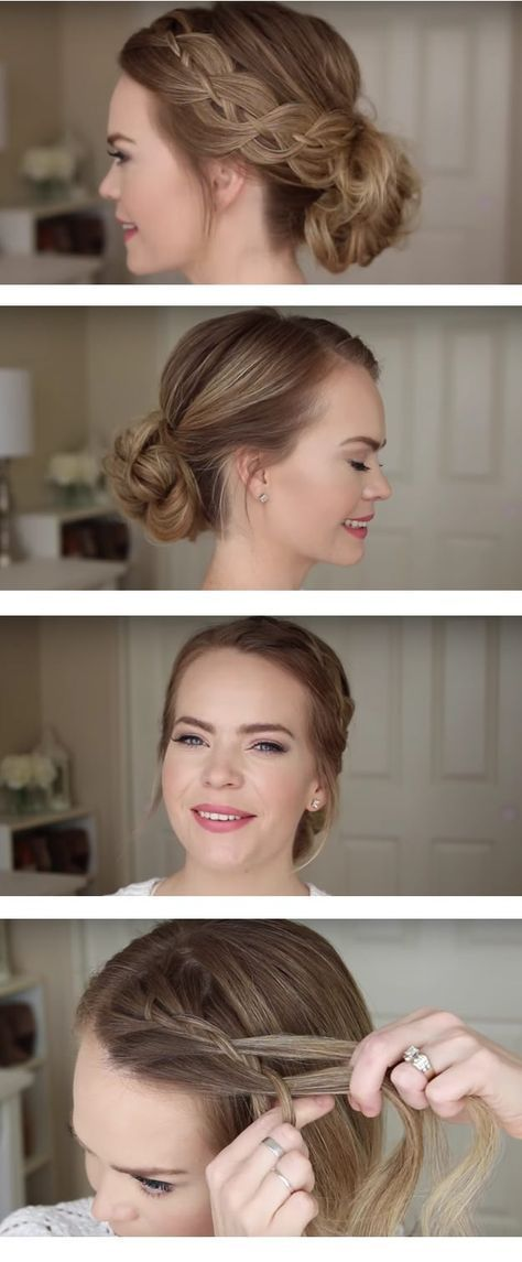 Best Hairstyles for Brides - Four Strand Braid Low Bun- Amazing Hair Styles and Looks for Half Up Medium Styles, Updo With Long Hair, Short Curls, Vintage Looks with Veil, Headpieces, or With Tiara - Wedding Looks for Girls With Round Faces - Awesome Simple Bridal Style With Headband or Elegant Braided Up Dos - thegoddess.com/hairstyles-for-brides #weddinghairstyleswithveil