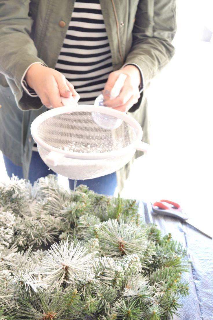 DIY Flocked Wreath Flocked christmas trees, Christmas
