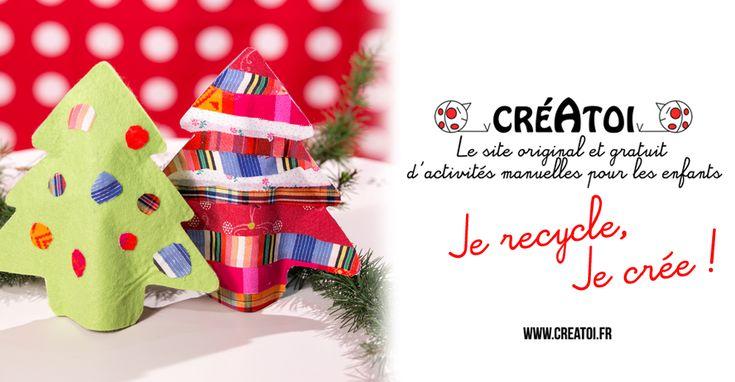 Ne jettes plus tes vieux vêtements, ils peuvent se transformer en un beau sapin de Noël ! Le modèle de CRÉATOI, de la colle, ta paire de ciseaux et des bouts de tissus pour créer une décoration personnalisée.