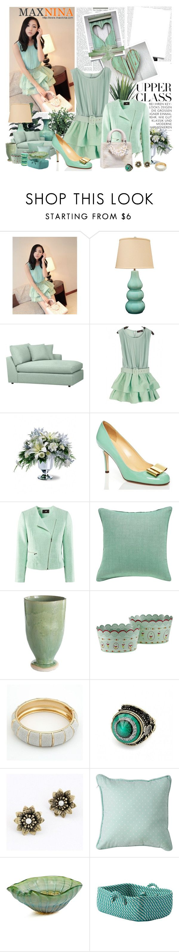 """""""Spring in Mint"""" by pilar-elena ❤ liked on Polyvore featuring INC International Concepts, Crate and Barrel, Kate Spade, H&M, OKA, TAJ Wood & Scherer, Retrò, Royal Albert, ANISE and Ethan Allen"""