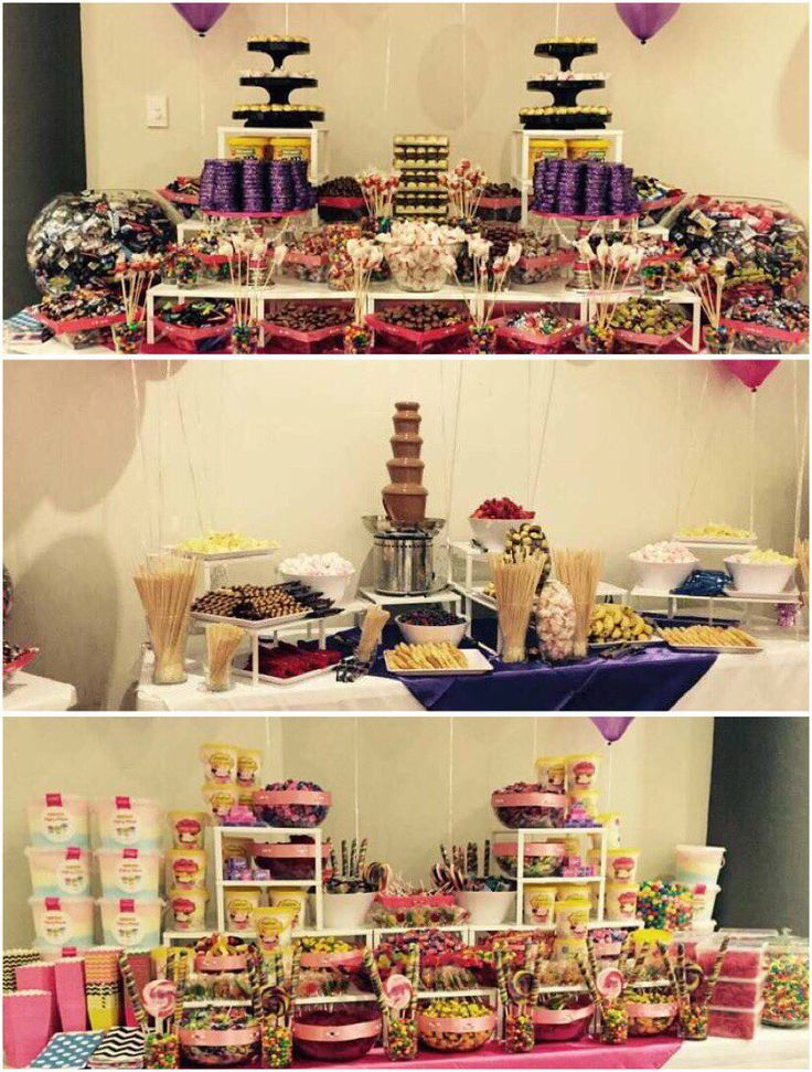 Chocolate buffet and candy buffet and chocolate fountain buffet, at a beautiful 21st birthday celebration.