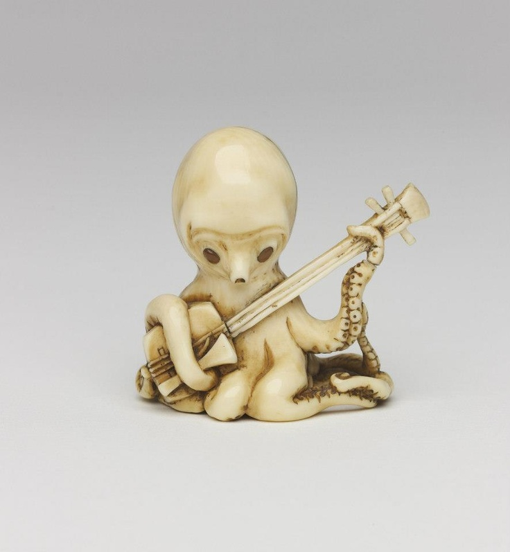 Octopus playing a shamisen , 19th Century Japanese Netsuke attributed to 'Somin'