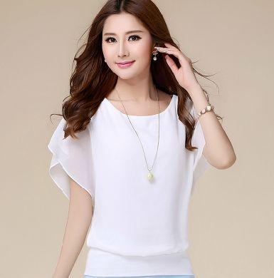 Aliexpress.com: Comprar Nueva Tops para mujer moda 2016 mujeres blusa de gasa más el tamaño del Batwing de la colmena manga corta camisa Casual negro blanco azul rojo de camisa de la camiseta fiable proveedores en DN Fashion
