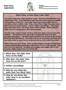 Polar Bears Reading Comprehension: In these nonfiction reading comprehension passages, students will learn information about polar bears, including habitat, diet, appearance and predators. Each nonfiction text reading comprehension passage is followed by short answer reading comprehension questions to check for understanding. The polar bears reading comprehension content is appropriate for readability grades 4-6.