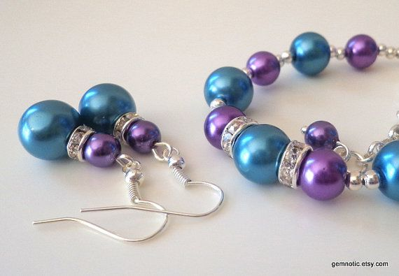 Teal bridesmaid jewelry set teal and purple bridesmaid by Gemnotic