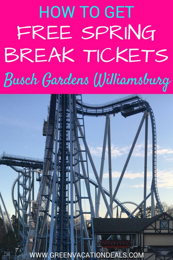 Busch Gardens Williamsburg Tips - Get FREE Spring Break Tickets! Click to find out how you can get free Spring Break tickets to the Busch Gardens Williamsburg theme park in Virginia. Busch Gardens Williamsburg Secrets | Things to Do in Williamsburg Virginia #SpringBreak #BuschGardens #Williamsburg #Virginia #Teens #Kids #Family #SpringBreak2018 #ThrillRides #RollerCoaster #KidFriendly #SpringBreakIdeas #FamilyVacation #FamilyTravel #FunWithKids