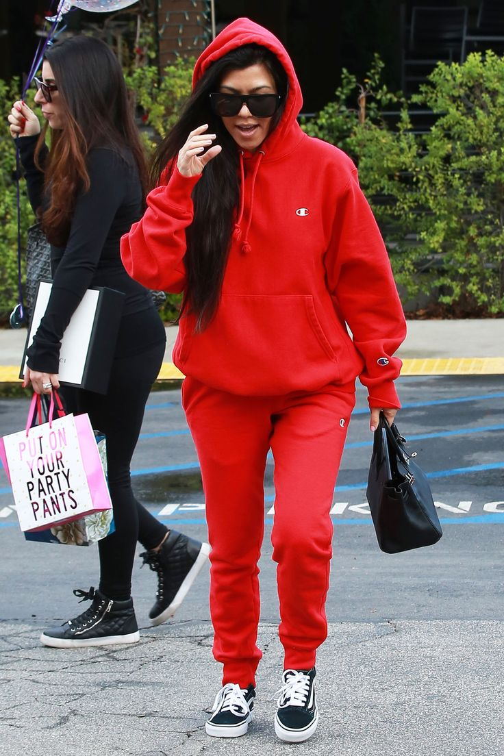 The new matching set? We think yes. Champion and Vans go hand-in-hand, as Kourtney Kardashian so effortlessly demonstrates. #refinery29 http://www.refinery29.com/2017/01/136157/rihanna-kylie-jenner-hoodie-trend#slide-3