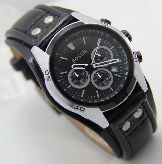 Fossil SIlver Black Leather (3.8cm) IDR 380K