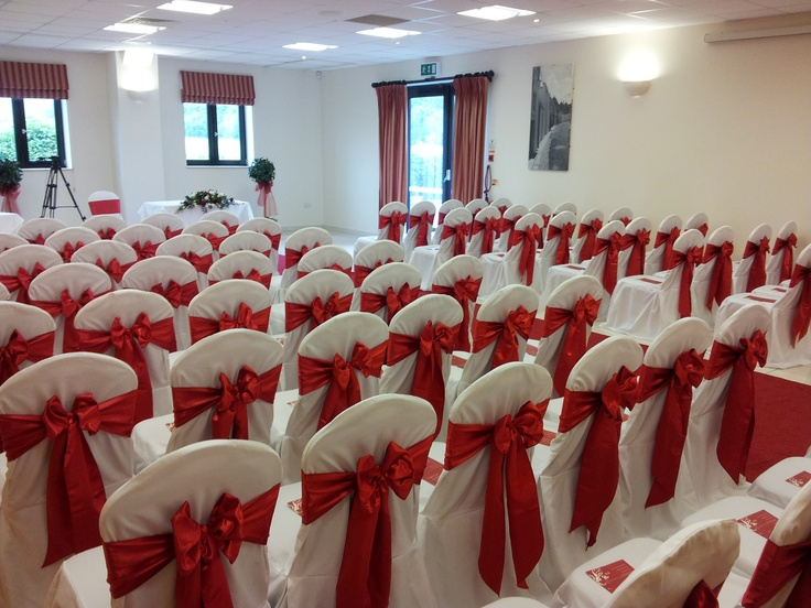 Red Satin Bows on White Chair Covers