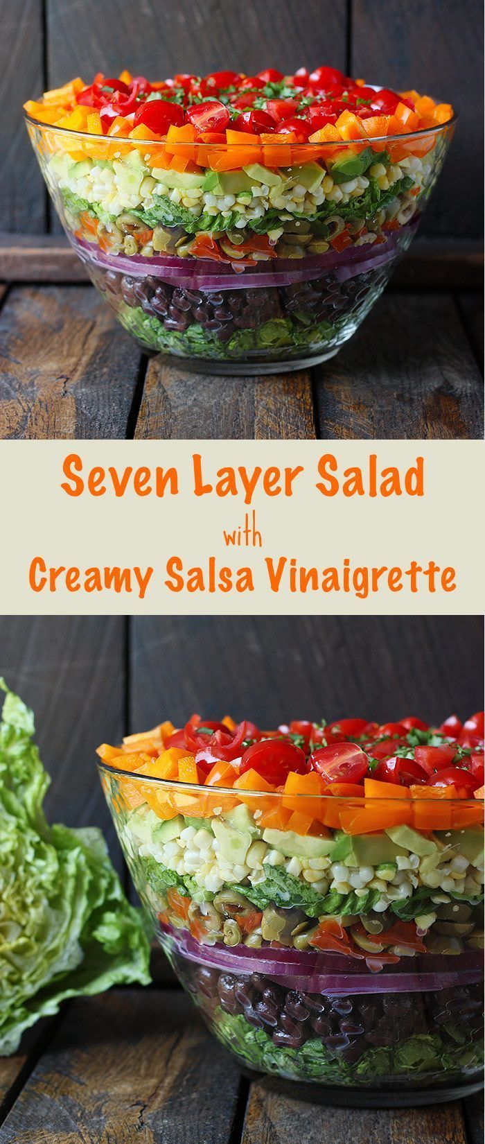 Seven Layer Salad with Creamy Salsa Vinaigrette  - this fresh, no gloppy-layers-of-mayo salad is a beautiful showstopper on your table (and healthy, too). Recipe at SoupAddict.com | rainbow salad | vegetables | salsa dressing | vegetarian