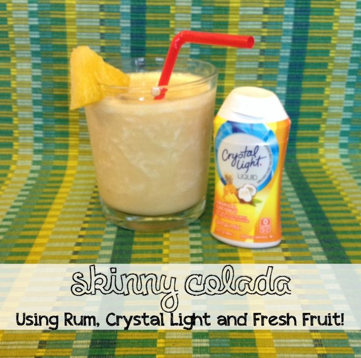 The BEST #skinny piña colada using Crystal Light tropical coconut, frozen bananas and rum! Easy to make a mocktail too! Add strawberries for a tasty alternative!