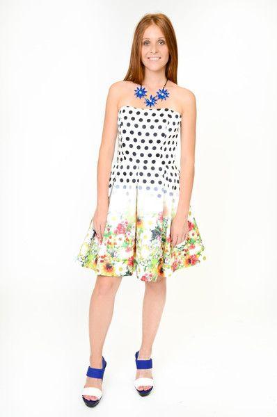 Sukienka gorsetowa w kwiaty - LATTORE - Moda dla puszystych