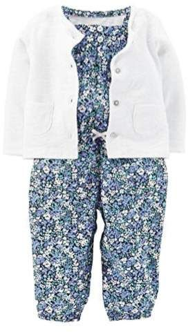 1ff89b17e Carters Infant Girls Baby Outfit Blue Floral Jumpsuit   Cardigan ...