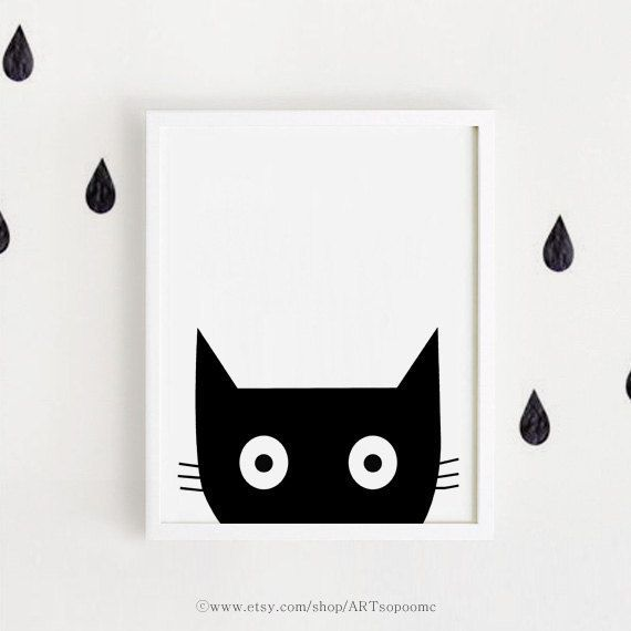 Black and white Minimal nursery poster bebe INSTANT DOWNLOAD printable art Cute animal illustration Kawaii baby room Cat print Digital file