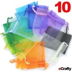 Nice rainbow assortment of small sheer organza gift bags with satin ribbons ~ good for last minute gifts, package toppers, hand made jewelry and small DIY gifts. Supplies from eCrafty.com $2.99