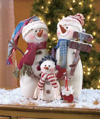 Plush Snowman Holiday Family