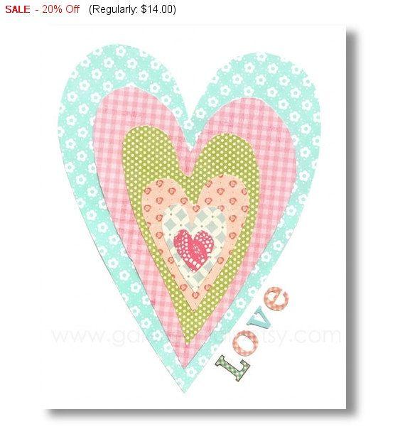 Heart Love print baby nursery decor children by GalerieAnais