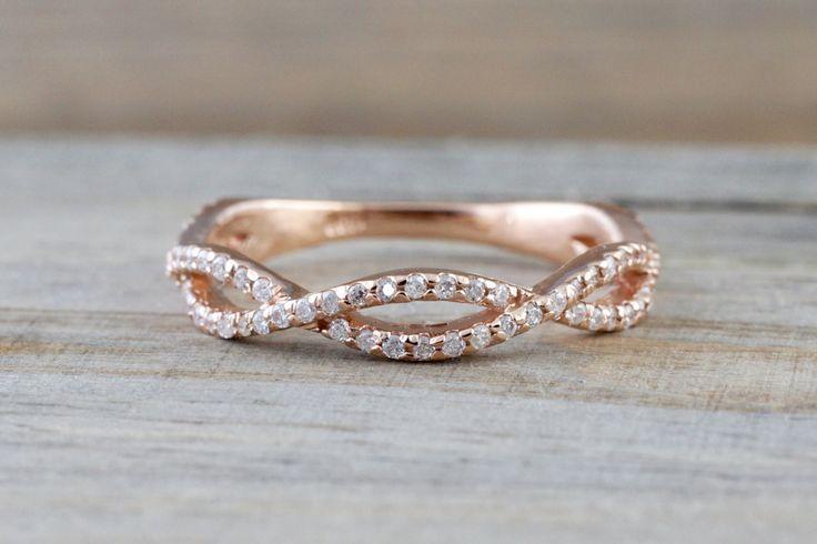 14k Rose Gold 3/4 Diamond Infinity Intertwined Twist Braid Band Promise Ring