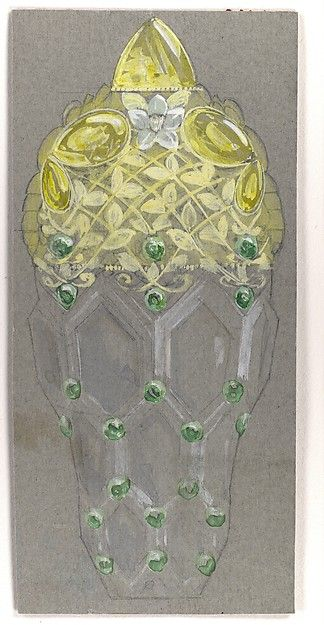 Design Drawing for Perfume Container Exhibited at 1893 Columbian Exposition in Chicago Tiffany & Co. (1837–present) ca. 1893 Medium: Watercolor over graphite on grey cardboard Accession Number: 1987.1047.13