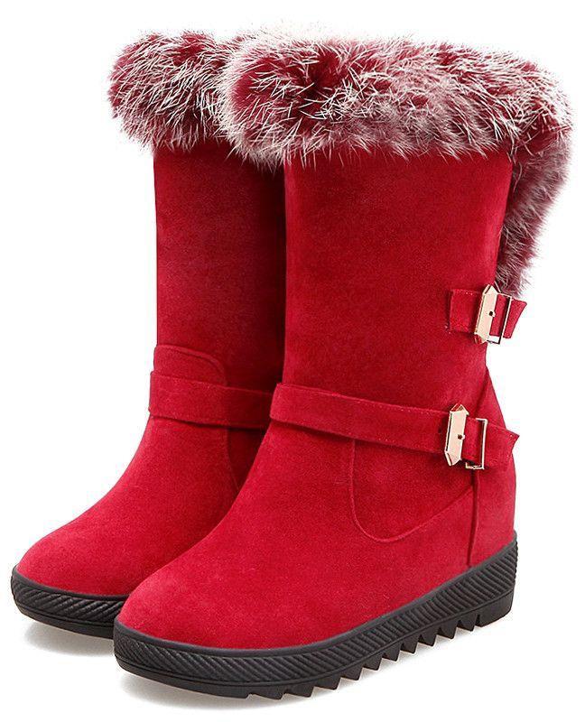 $34.52 Buckles Faux Fur Hidden Wedge Snow Boots