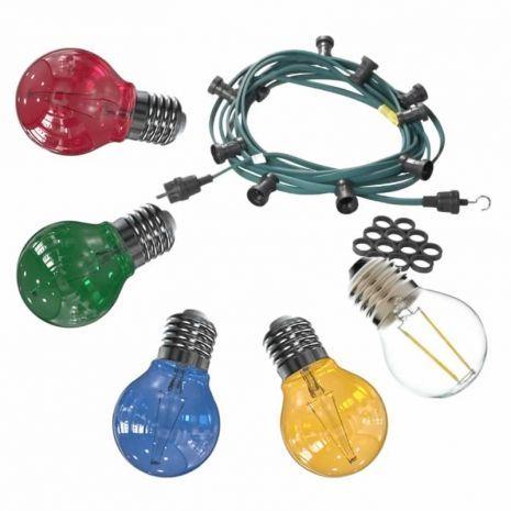 Feestverlichting buiten 20 meter inclusief 20 heldere LED lampen filament van 2 Watt per stuk